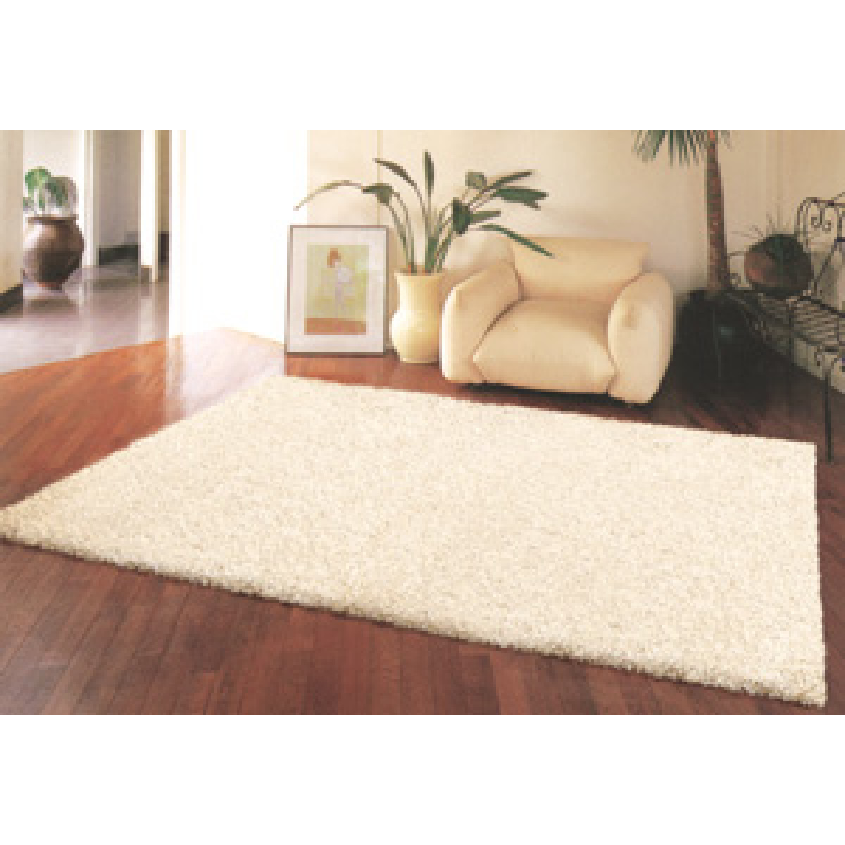 hvidt langhåret tæppe