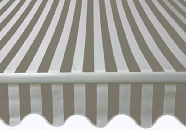 Markise 4,80 x 2,5 meter - Grå og hvid stribet
