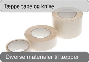 Tape og knive til tæppe montering
